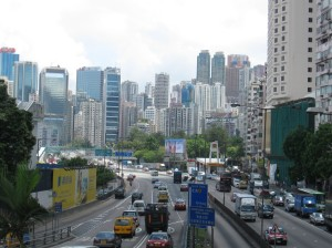 Skyline and traffic in Hong Kong